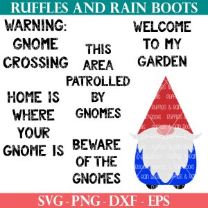 garden gnome svg for cricut with 5 garden sayings