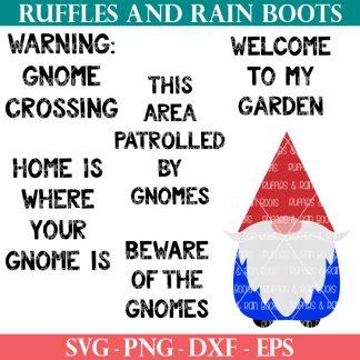 garden gnome svg for cricut with 5 garden sayings