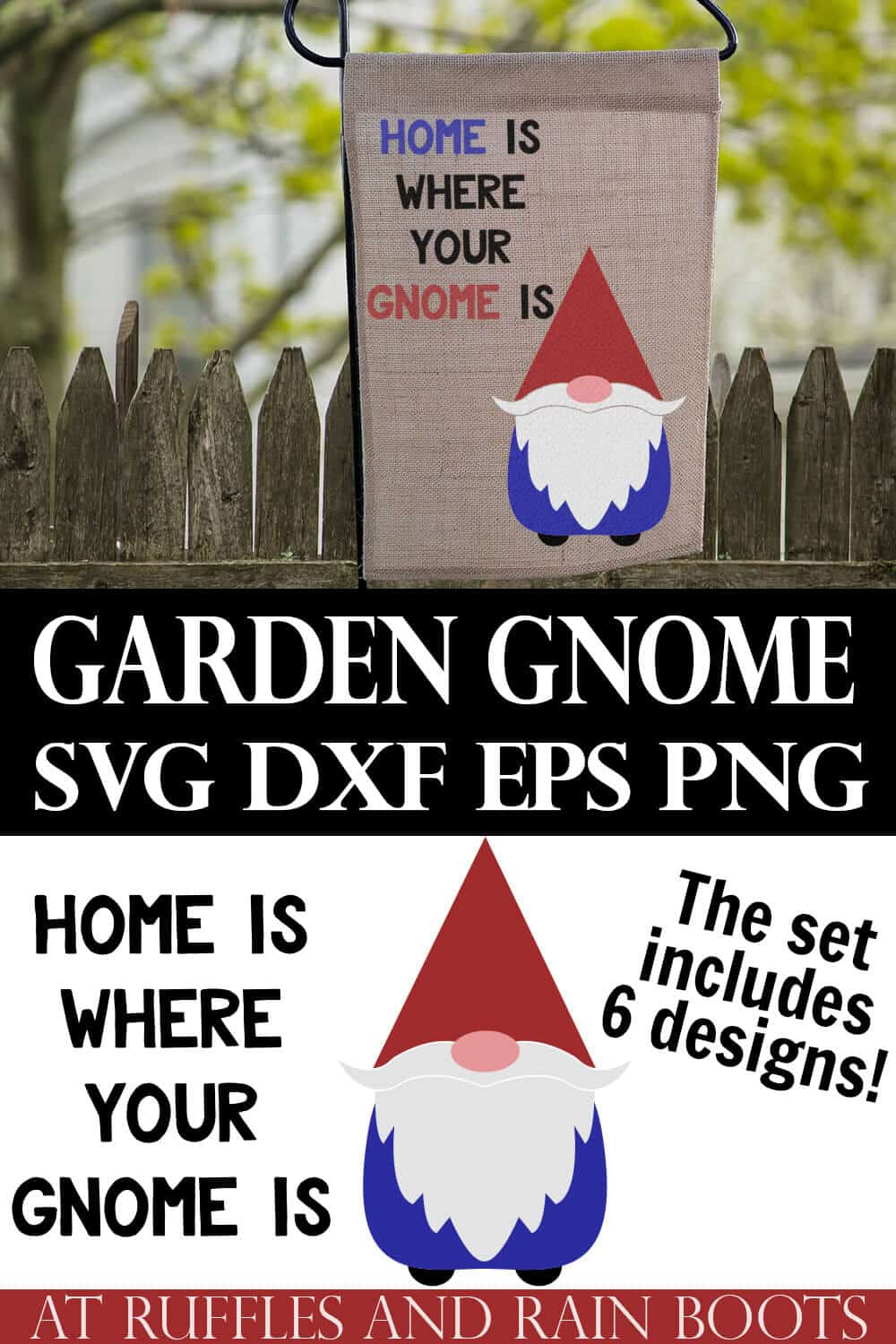 college of garden gnome svg on burlap garden flag with text which reads garden gnome svg dxf png eps