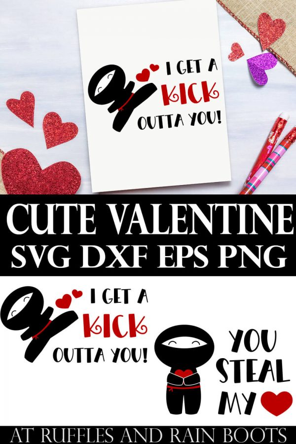 collage with text which reads cute valentine svg dxf eps png with two Valentine Ninja SVG files for Cricut