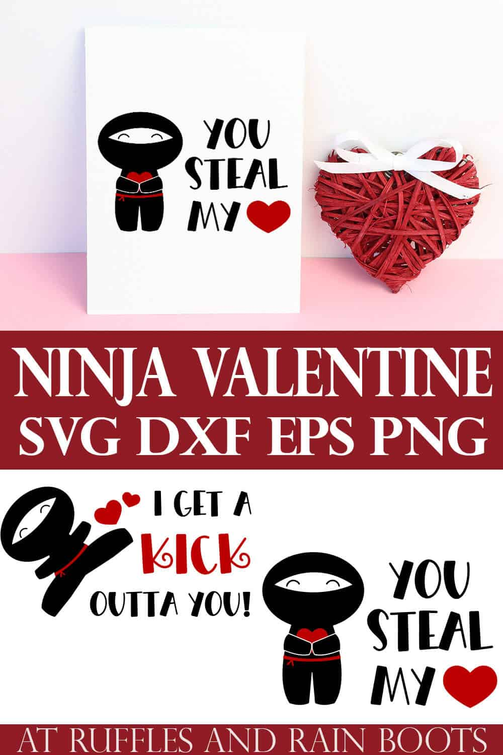 collage of ninja svg for Valentines Day with two designs on cards