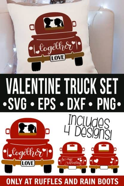 collage of Valentine's Day truck svg on pillow with text which reads valentine truck set