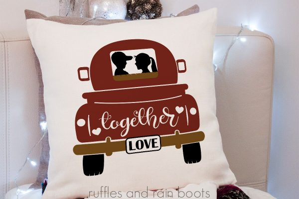Valentine's Day SVG of vintage red truck on pillow