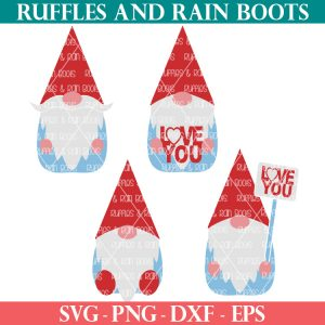 Valentine's Day gnome SVG set from Ruffles and rain Boots