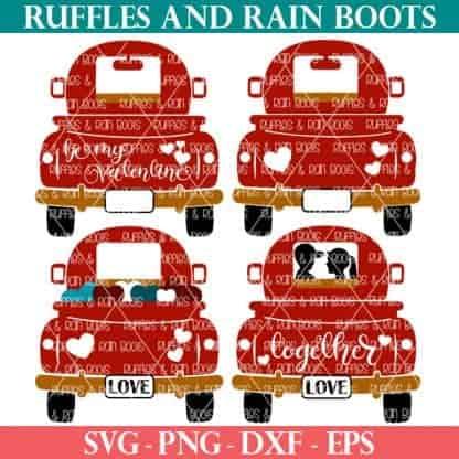 red truck Valentine's Day SVG