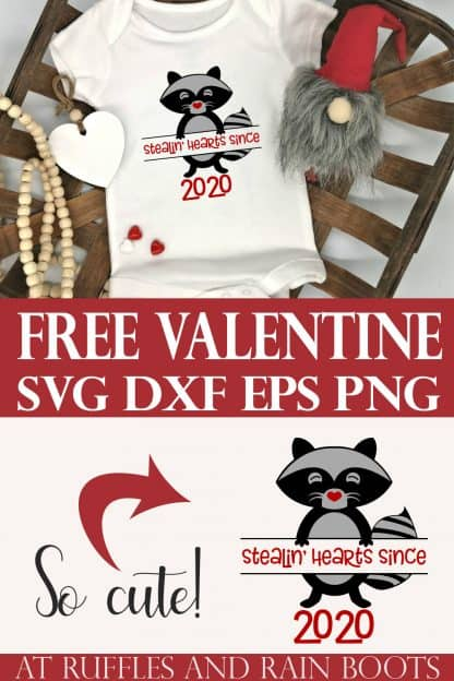 free Valentine raccoon svg for stealin hearts