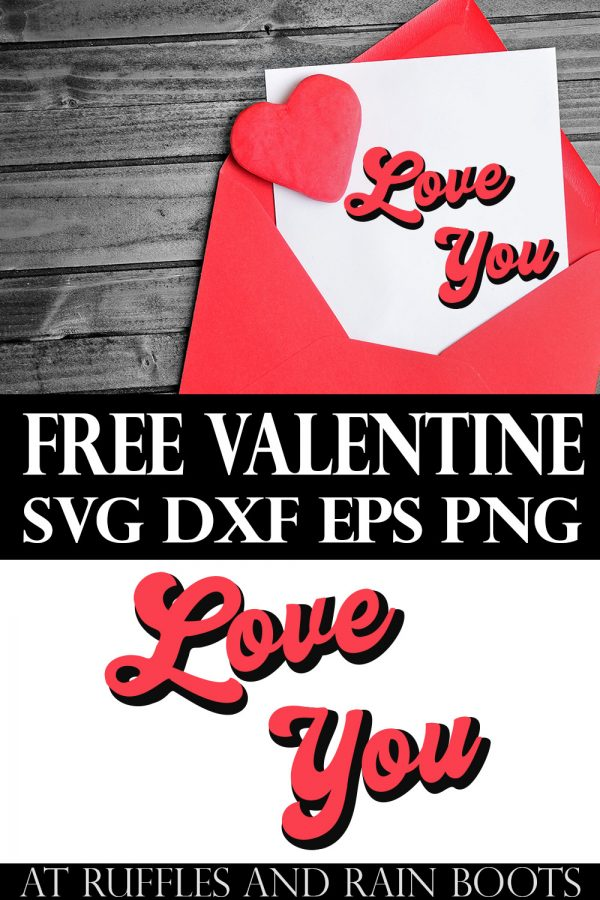 collage of free valentine cut file of retro love you svg for Cricut on a red card on wood background