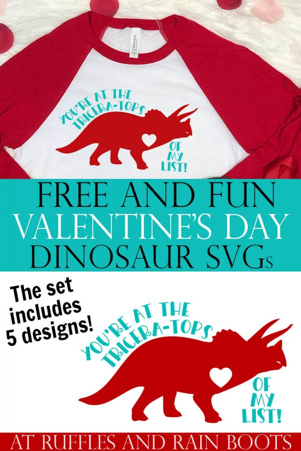 free dinosaur svg for valentine's day on red and white t shirt on faux fur background with text which reads free and fun Valentines day dinosaur cut files
