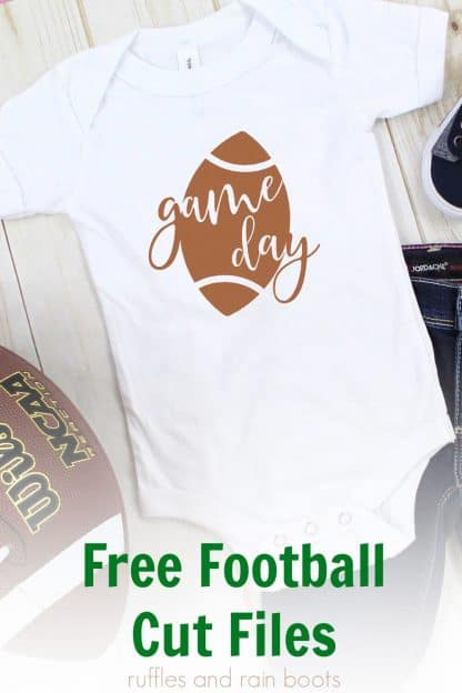 free game day football svg on white baby onesie for football season with text which reads free football cut files