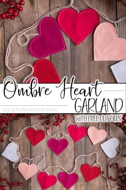 free heart svg for Cricut used on felt heart garland for Valetntines Day