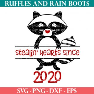 Valentine raccoon svg from Ruffles and Rain Boots