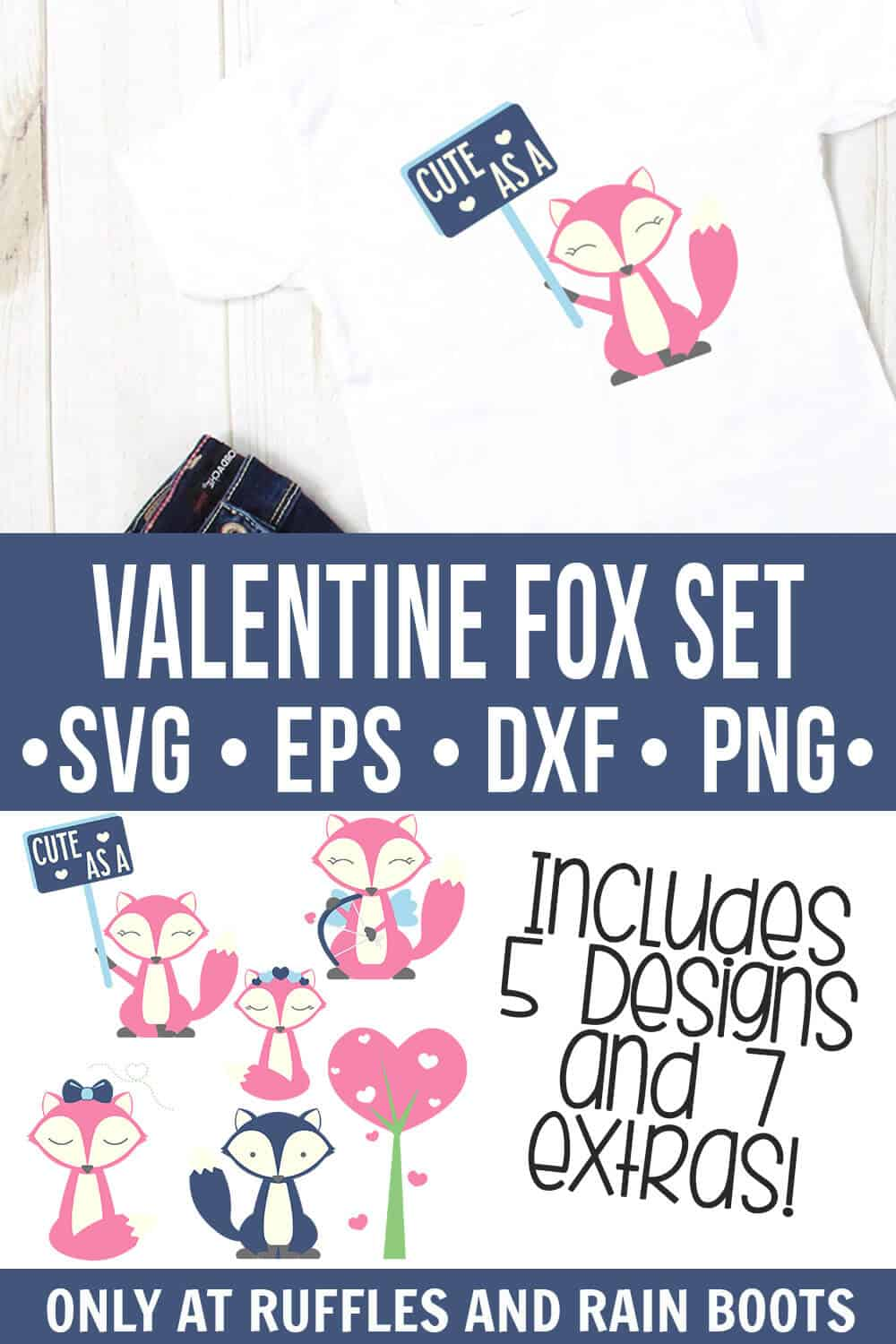 collage of child t shirt with valentine fox svg on it for crafts and cricut