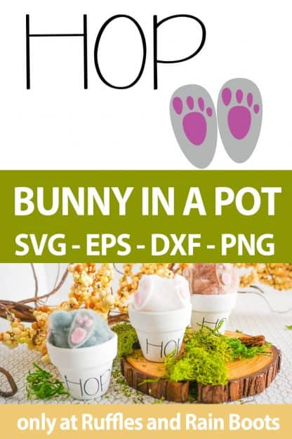 photo collage of bunny butt Easter Craft cut file set for cricut or silhouette with text which reads bunny in a pot svg eps dxf png
