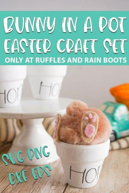 Bunny in a Pot Easter Craft cut file set for cricut with text which reads bunny in a pot easter craft set svg png dxf eps