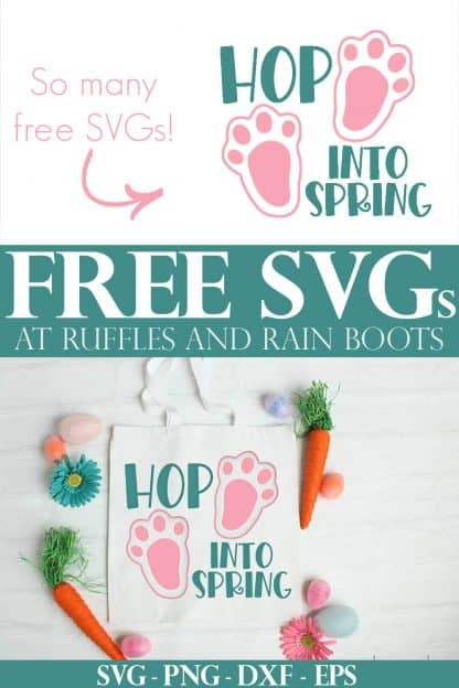 collage of easter svg on Easter aster tote bag with hop into Spring SVG and text which reads free svg for cricut