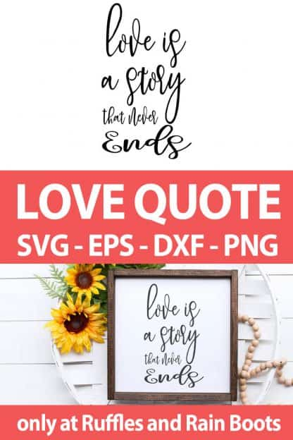 photo collage of Love valentines quote for cricut crafts with text which reads love quote svg eps dxf png
