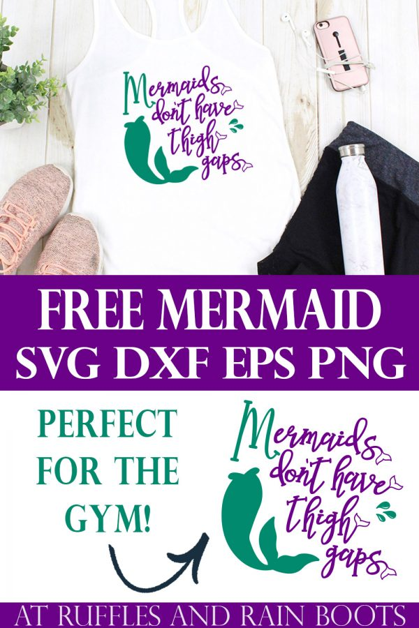 collage of free mermaid svg for workouts in purple and teal on white tank with water bottle and leggings