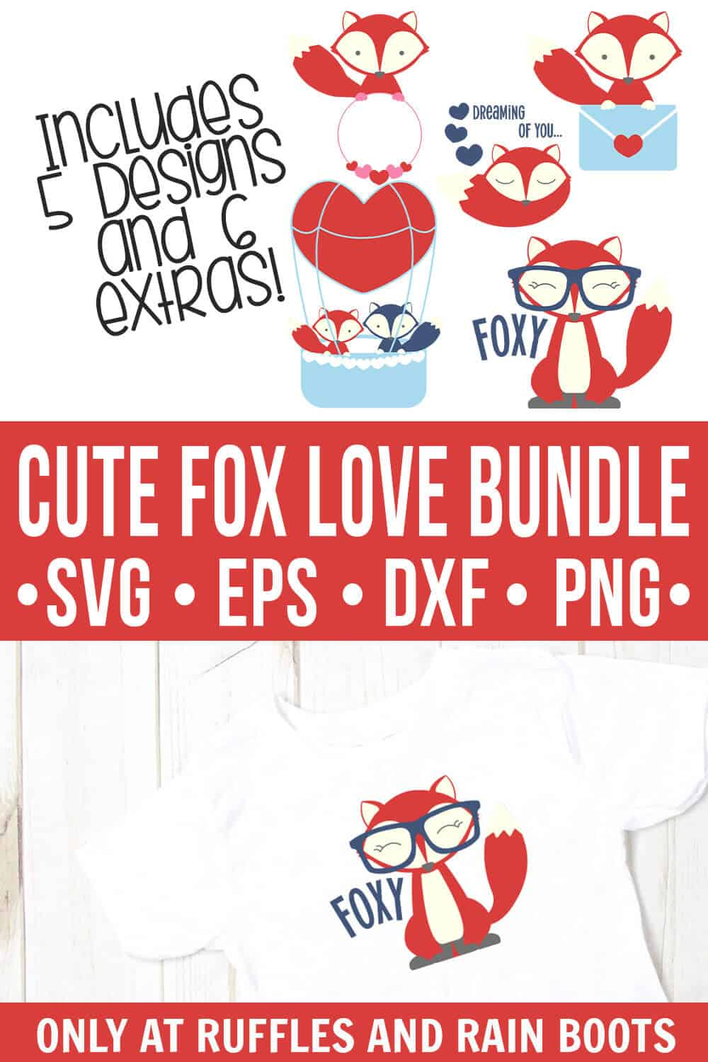 Valentines day fox svg bundle collage with red and blue fox on white t shirt