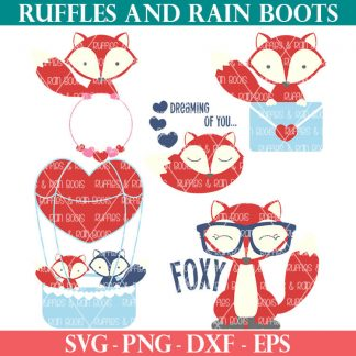 collage of all fox svg files for cricut for valentines day bundle
