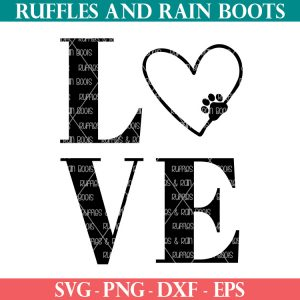 black animal lover paw LOVE SVG from ruffles and rain boots clipart cut file