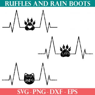 animal lover cat heartbeat svg from ruffles and rain boots