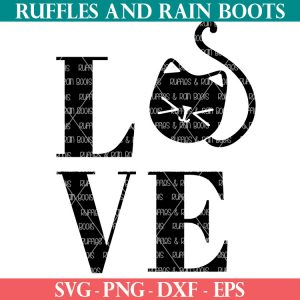 black kitten and cat love svg on white background from ruffles and rain boots