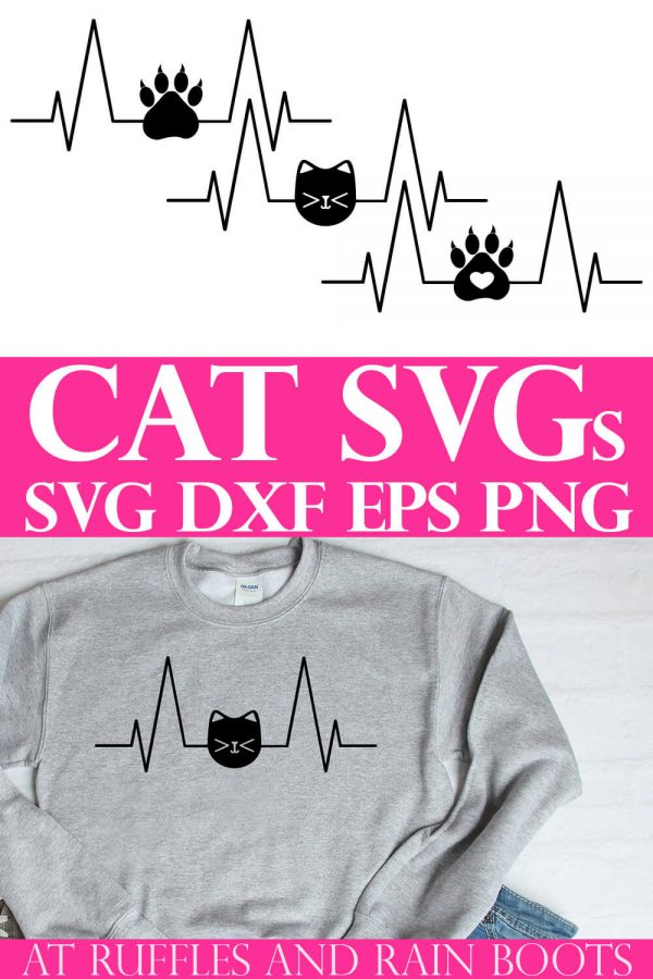 collage of cat heartbeat cut file with gray sweatshirt on white background with text which reads Cat SVG