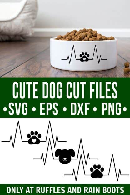 collage of three dog heartbeat svg designs and dog food bowl on wood floor with text which reads cute dog cut file