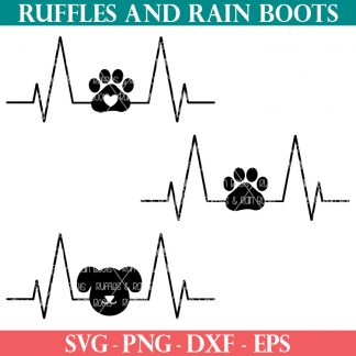animal lover dog heartbeat svg from ruffles and rain boots