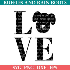 bold animal lover design of dog LOVE svg from ruffles and rain boots