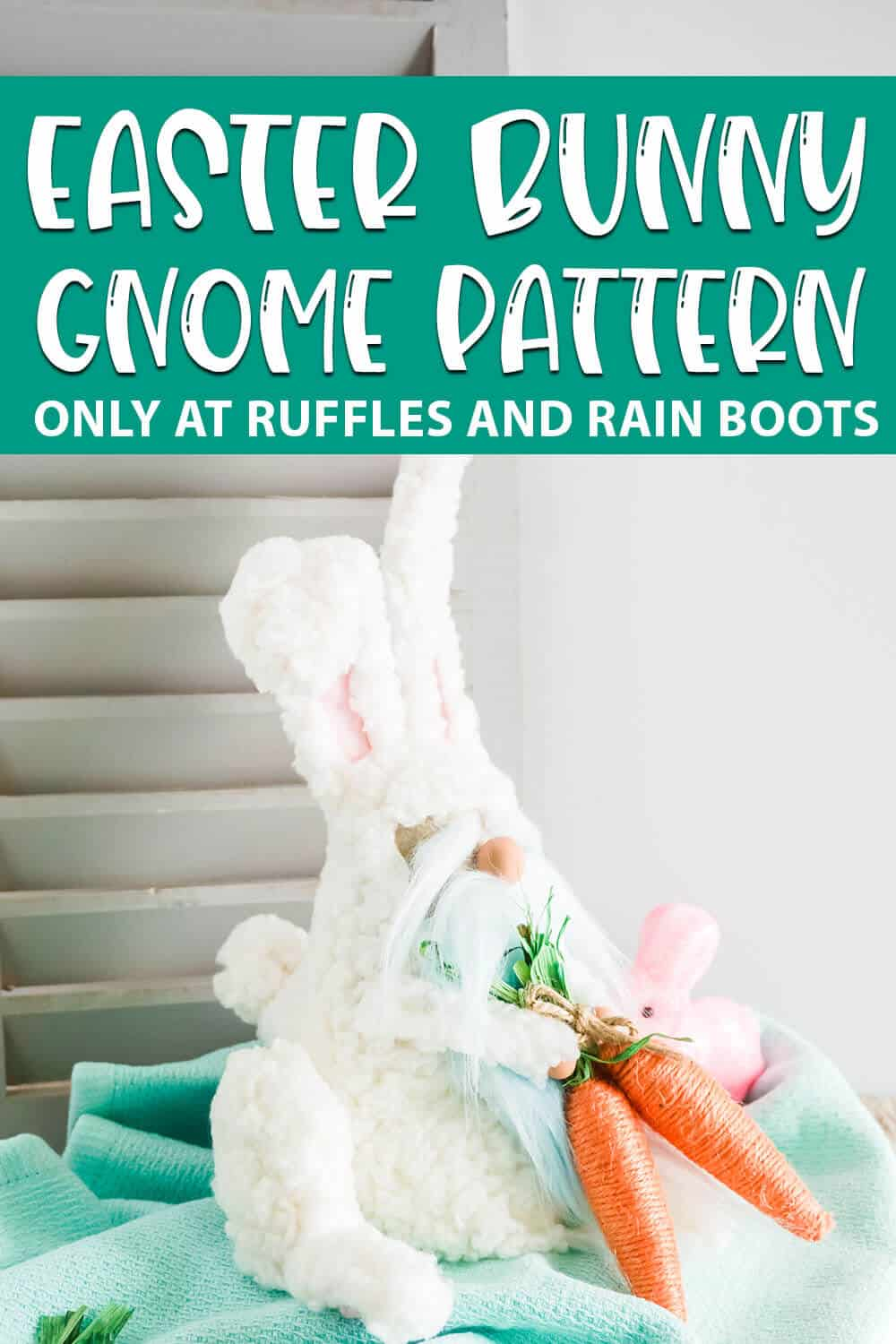 adorable gnome wearing a bunny suit pattern with text which reads Easter Bunny Gnome Pattern