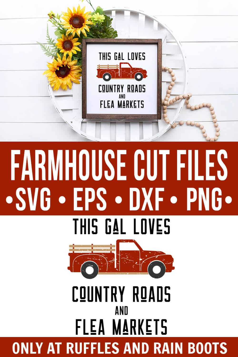 collage of farmhouse truck svg on white wood sign in cigar basket on wood background with text which reads farmhouse cut file