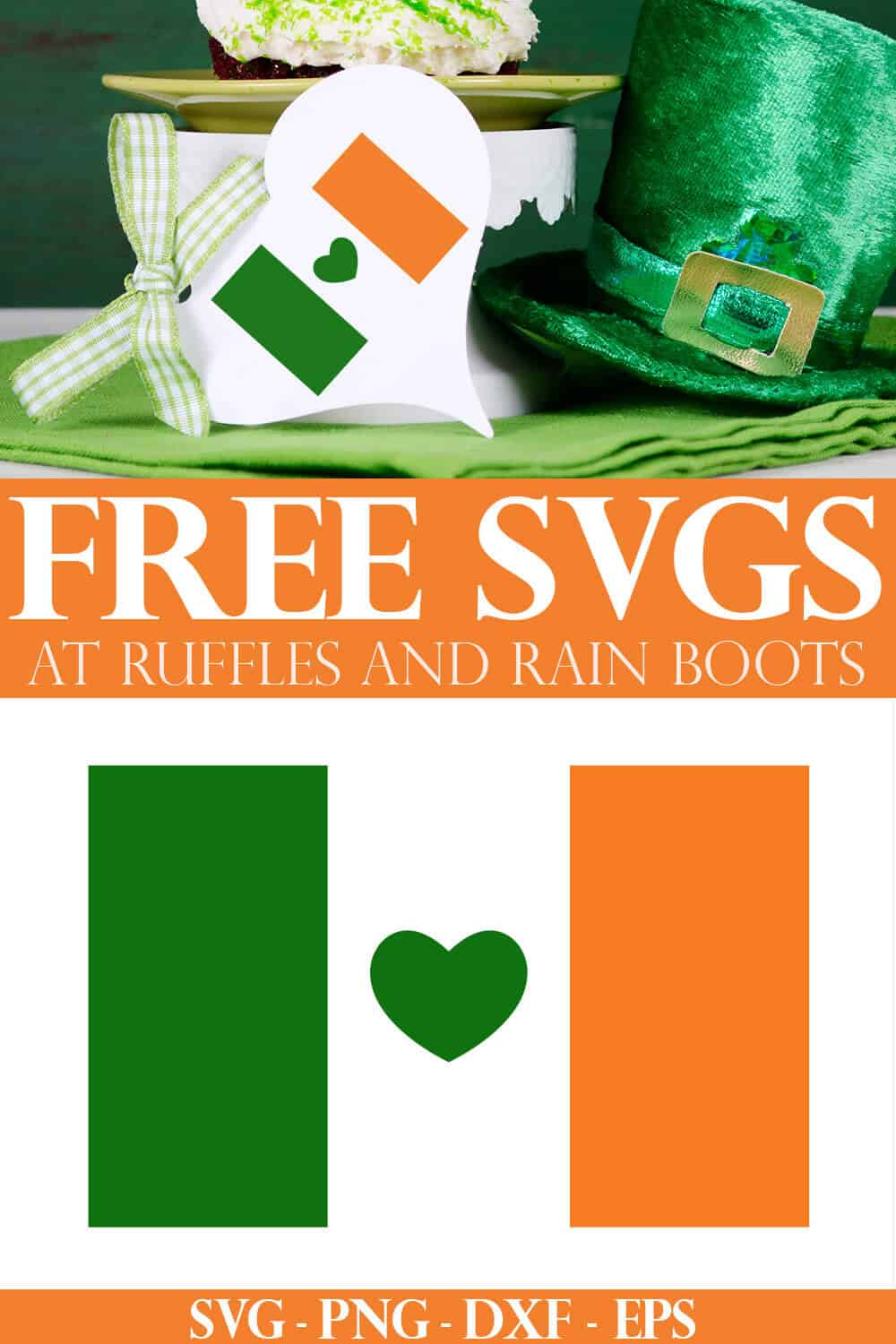 photo collage of free Irish flag cut file on tag with text which reads free SVG