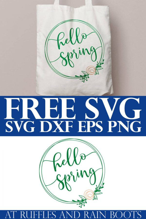 free svg for Spring - hello Spring wreath with flower SVG