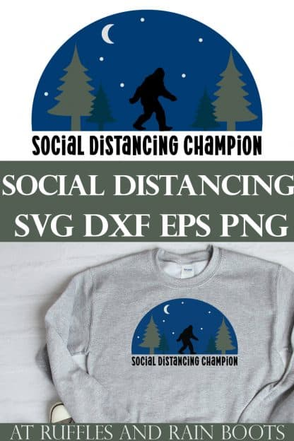 collage of social distancing svg for cricut on a gray sweatshirt