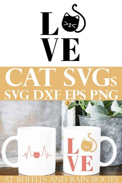 collage of cat LOVE SVG with kitten on white mugs in front of plant with text which reads cat svg