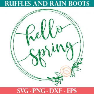 peach and green hello Spring wreath SVG for Cricut and Silhouette cutting machines
