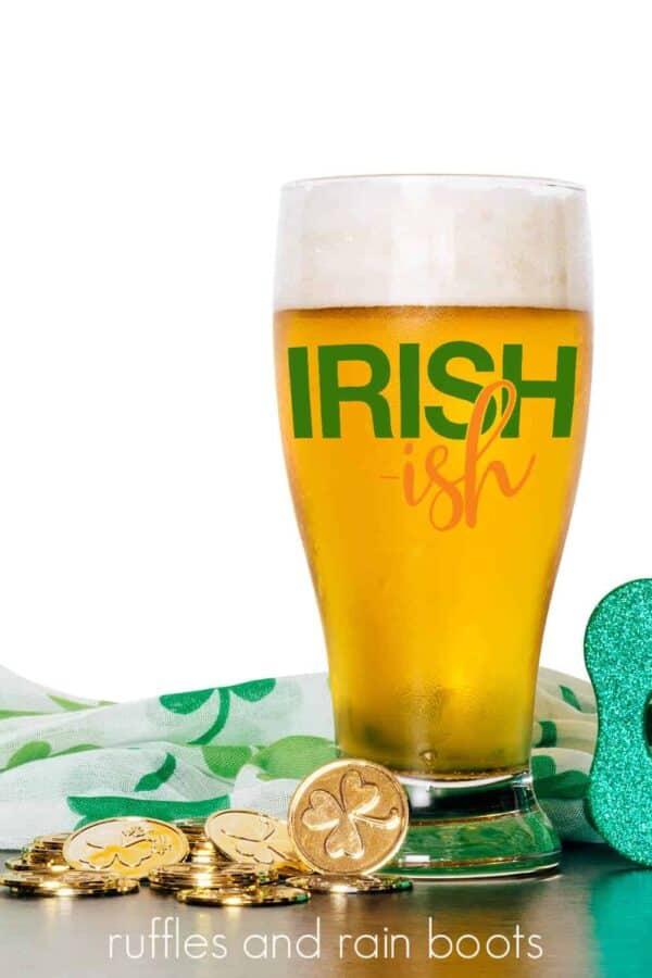 irishish svg on beer mug with green decorations