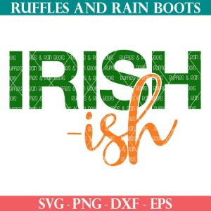 Irish-ish SVG for St Patricks Day in green and orange on white background