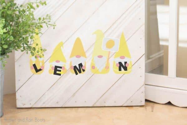 Lemon Gnome cut file set for farmhouse decor on a wood sign