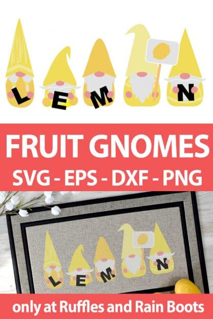 photo collage of Lemon Gnome cut file set for sublimation crafts with text which reads fruit gnomes svg eps dxf png