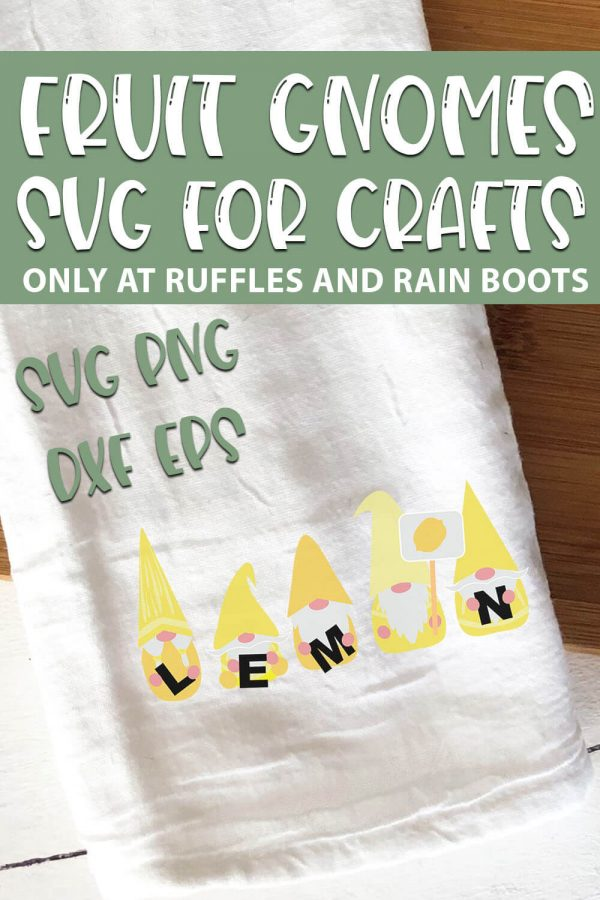 Lemon Gnome SVGs set for cricut or silhouette with text which reads fruit gnomes svg for crafts svg png dxf eps