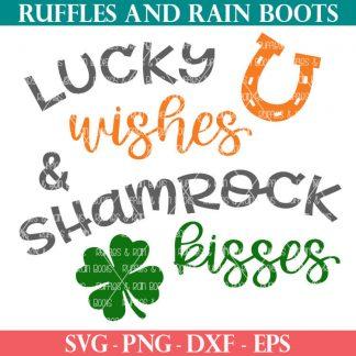 lucky wishes and shamrock kisses svg with horseshoe and shamrock
