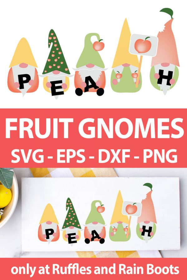 photo collage of Peach Gnome cut file set for cricut or silhouette with text which reads fruit gnomes svg eps dxf png