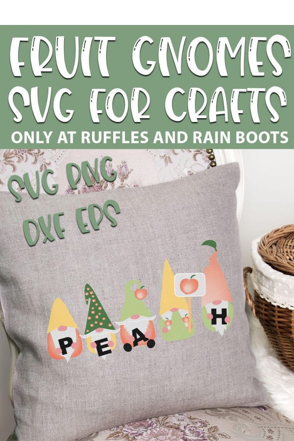 Peach Gnome cut files for sublimation projects with text which reads fruit gnomes svg for crafts svg png dxf eps