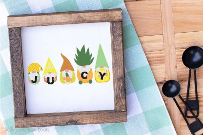 Pineapple Gnome SVGs on a wood block for a farmhouse tiered tray decoration