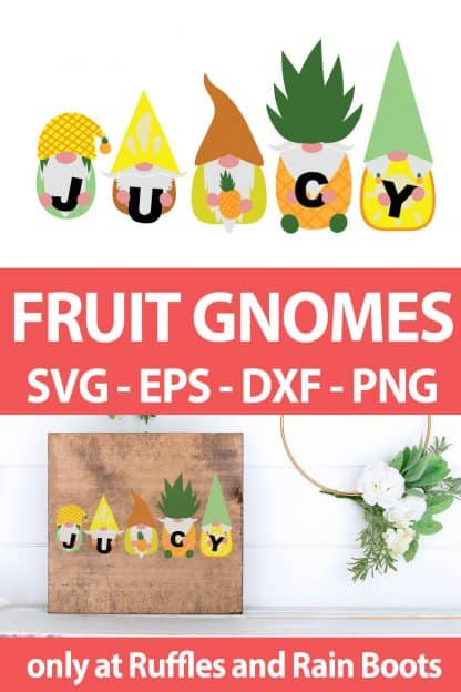 photo collage of Pineapple Gnome cut file design for sublimation with text which reads fruit gnomes svg eps dxf png