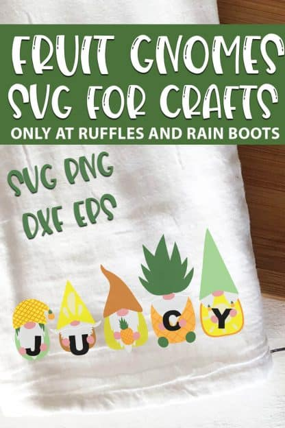 Pineapple Gnome SVGs or sublimation design with text which reads fruit gnomes svg for crafts