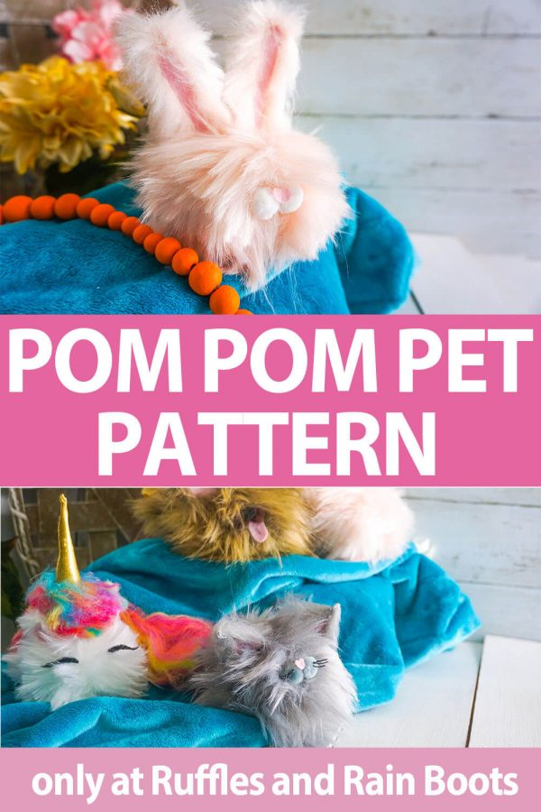 photo collage of Pom Pom Pets pattern set for gnome pets with text which reads pom pom pet pattern