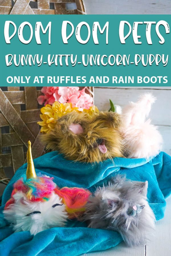 Pom Pom Pets pattern for gnome pets with text which reads pom pom pets bunny kitty unicorn puppy